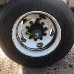 up close view of dirty truck tire